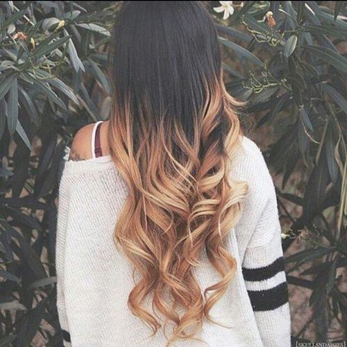 Ravishing dark hair with blonde ombre for long hair
