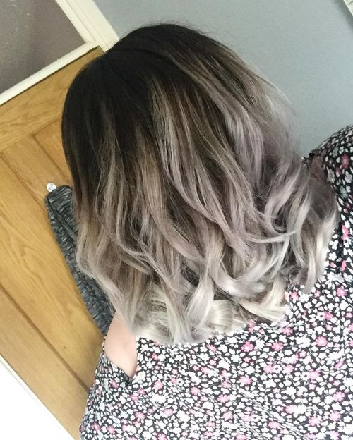 Gray ombre for long layered bob hairstyle