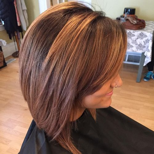 Delicate long layered bob hairstyle