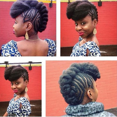 Lovely mohawk with braids on the sides