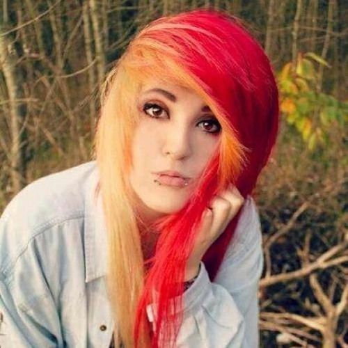 Raspberry and orange emo hairstyles for girls