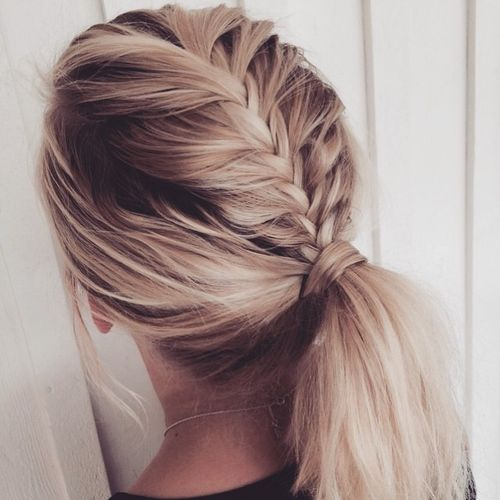 Cute Updos For School Medium Length Hair. White Ponytail Hairstyle With  Dark Roots