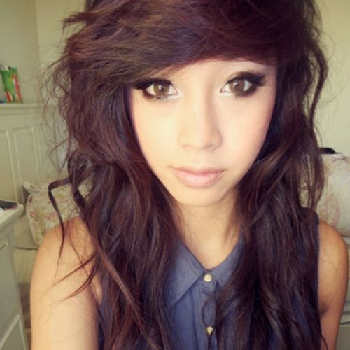 Brown lush emo hairstyles for girls