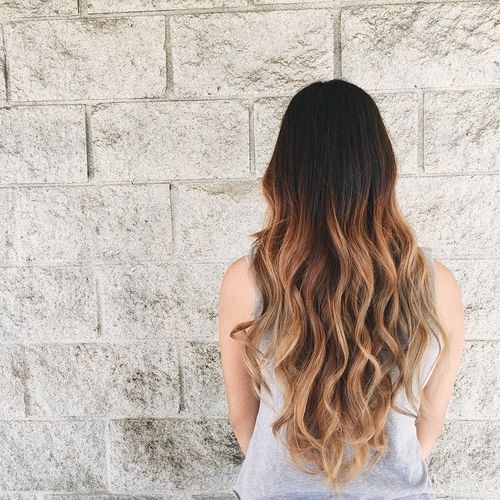 Heavenly long hair with light brown ombre