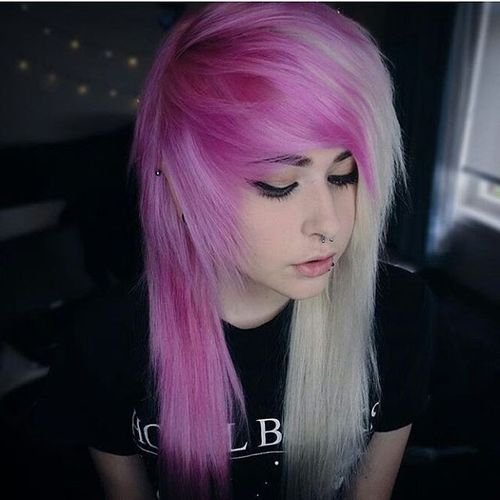 Bright pink emo hairstyles for girls
