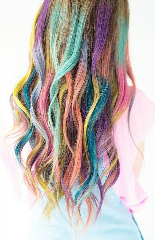 Light hair with natural rainbow ombre for long hair