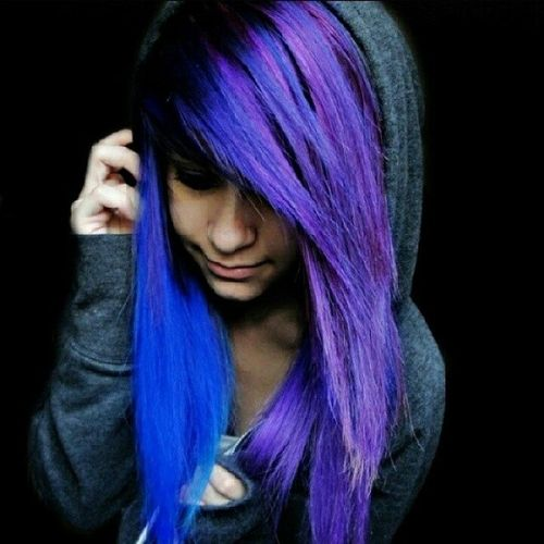 Azure emo hairstyles for girls with purple fringe