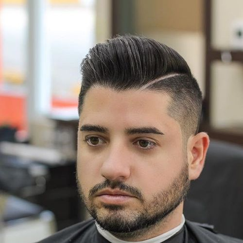 Pompadour with Sharp Line