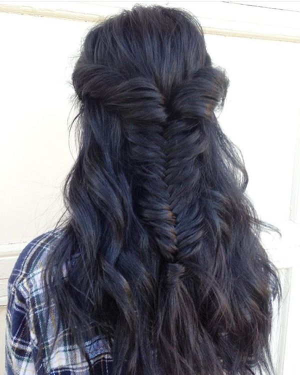 Fishtail with wavy hair