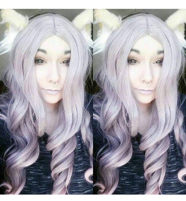 White hair with pink ombre and a headband with fluffy ears
