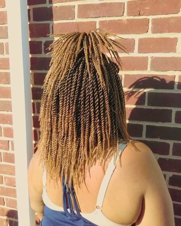Mid Length Crochet Braids With Quirky Half Pony