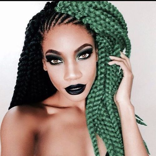 Dope Black and Green Crochet Braids