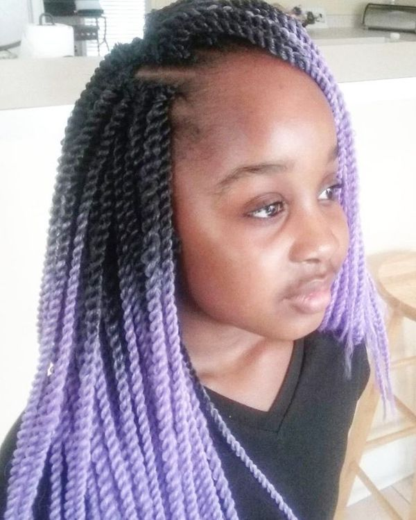 Lavender Ombre on Crochet Braids