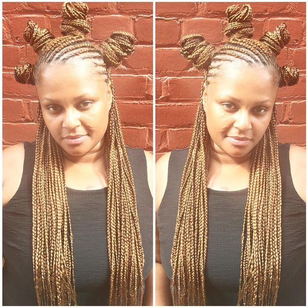 Crown Bantu Knots with Crochet Box Braids