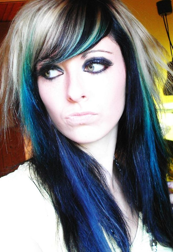 Multicolored emo hairstyle