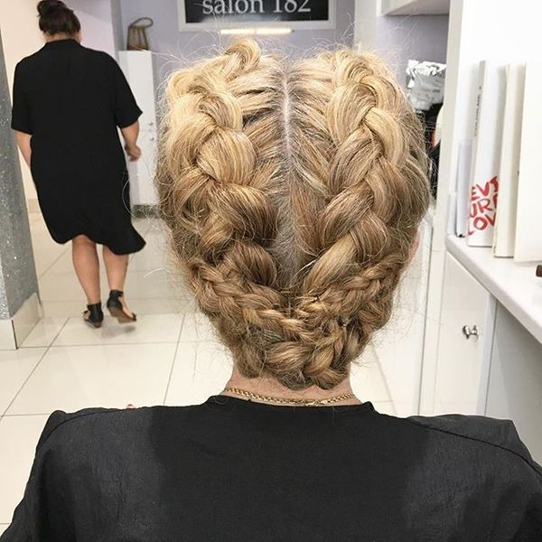 Double Reverse French Braid Updo