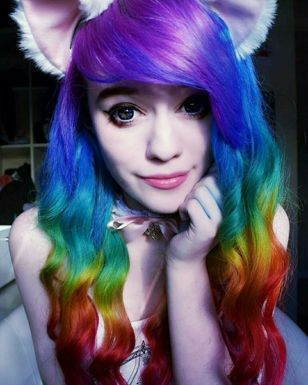 Rainbow curls emo hairstyle