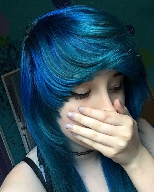 Blue shades for long hair with a raised bang