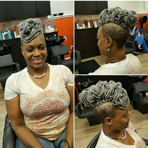 Extended Grey Crochet Faux Hawk