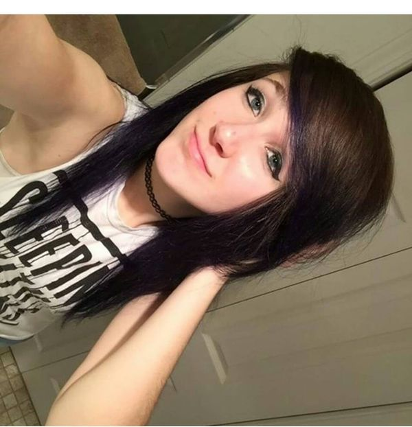 Heavy fringe and long hair with dark purple locks