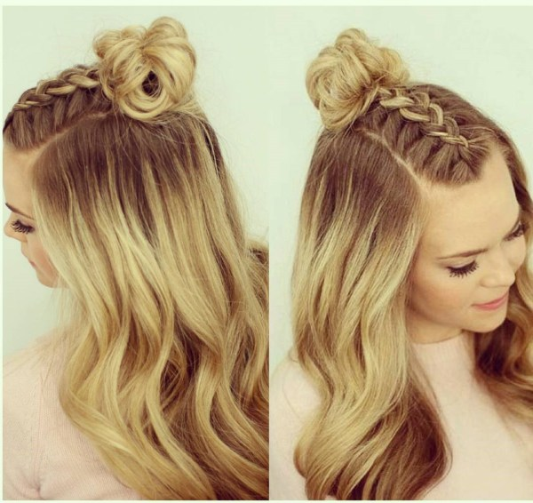 Braided bangs on the top
