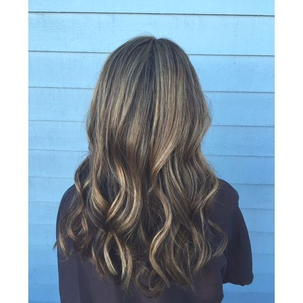 Brown to blonde balayage curls