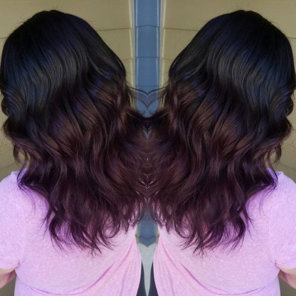 Burgundy balayage with plum flavor