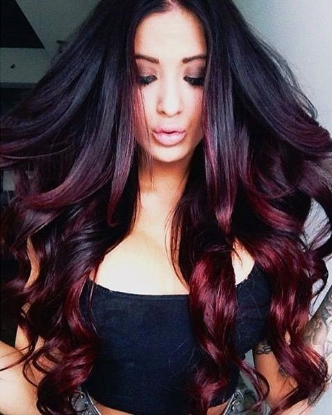Burgundy-crimson ombre for long hair