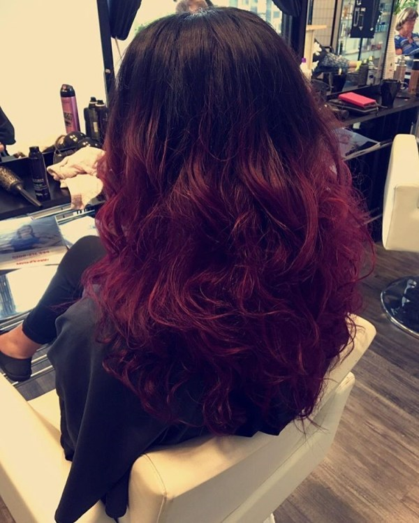 Cardinal curls with a dark top
