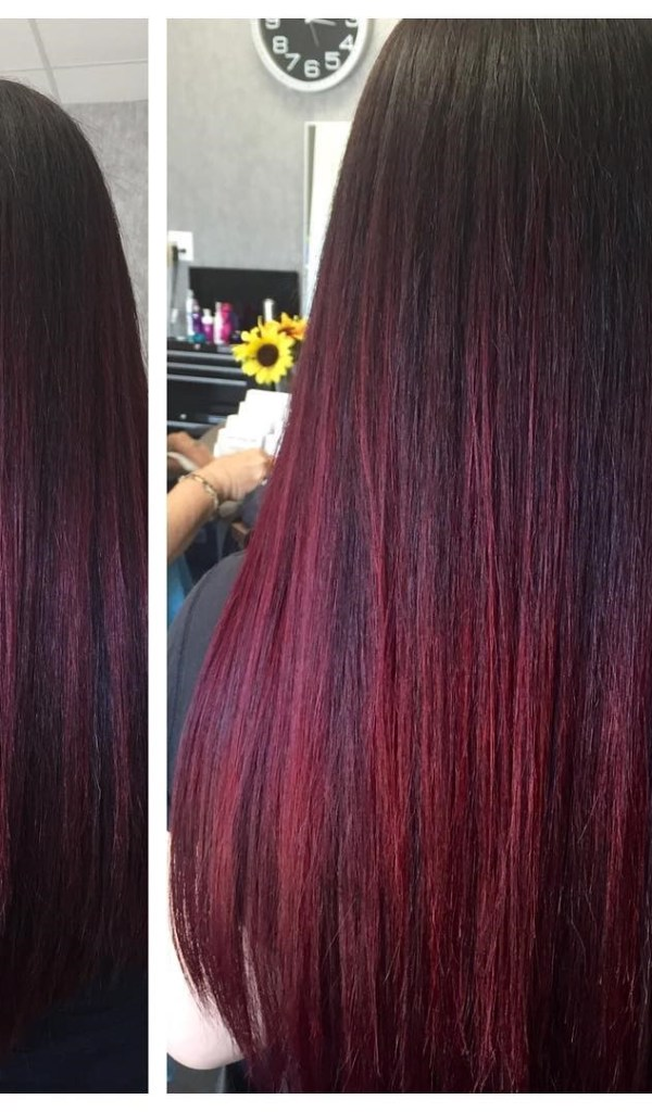 Crimson highlights for straight hair.