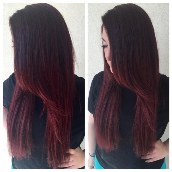 Deep burgundy with elongated oblique fringe