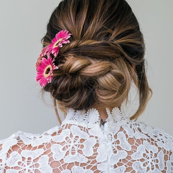 Floral weaving updo