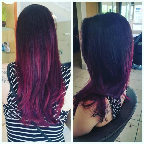 Burgundy Hair With Dark Red Purple And Brown Highlights