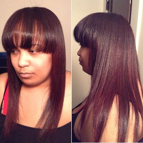 Long hairdo with a front bang