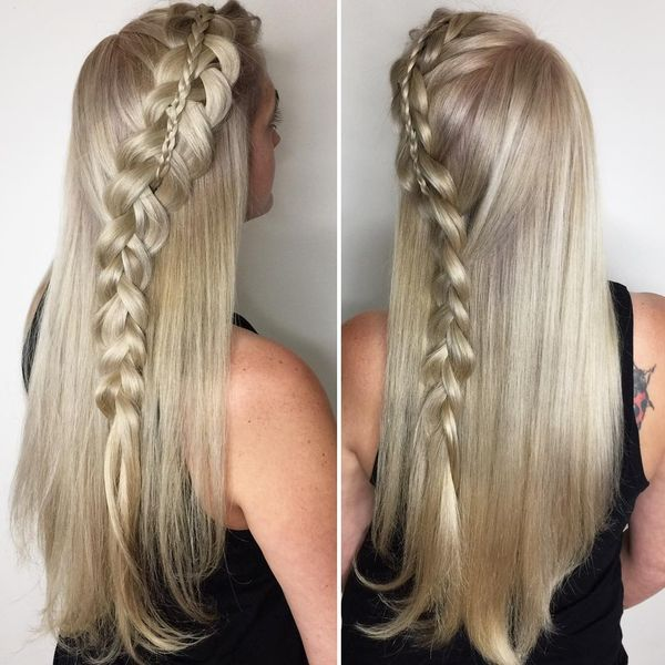Long straight blonde hair with loose side braid