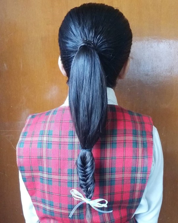 Ponytail with a fishtail braid innovation
