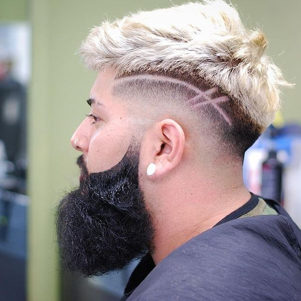 Silver Top Fade with Hard Part