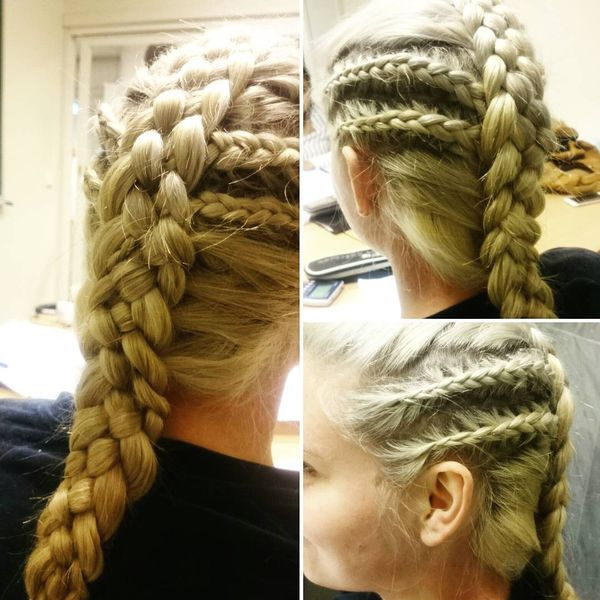 Long braid with plaited sides
