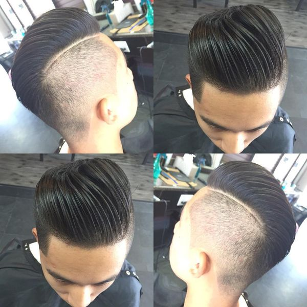 Long Slick Back Hairstyle With Shaved Side