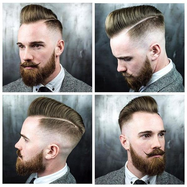 Skin Fade Pomp with Razor Side Part