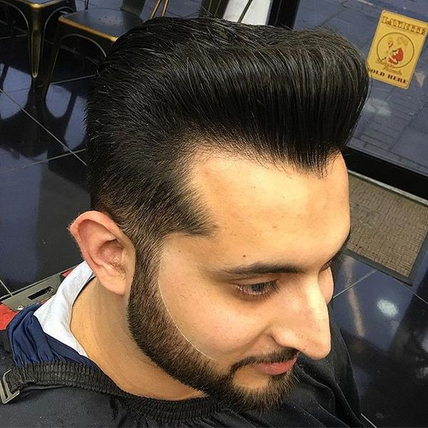 Pompadour with Figured Hairline