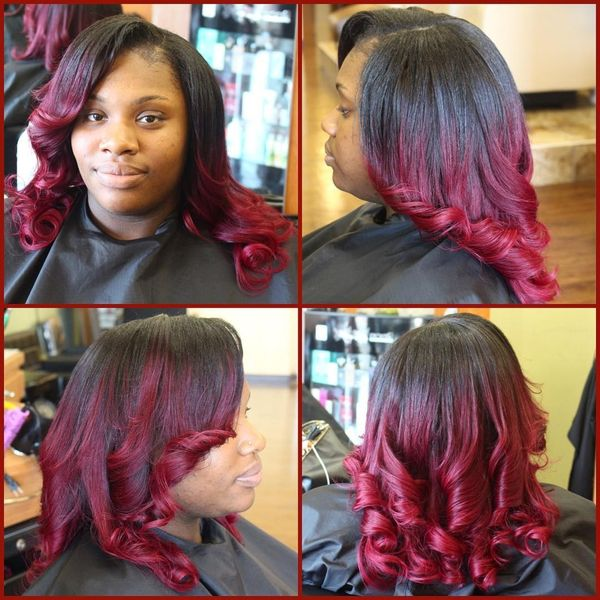 Side part haircut with magenta curls
