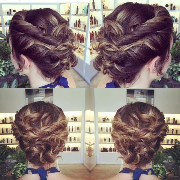 Classic updo with twisted details
