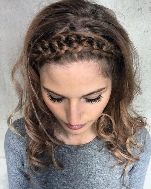 Wide front braid band