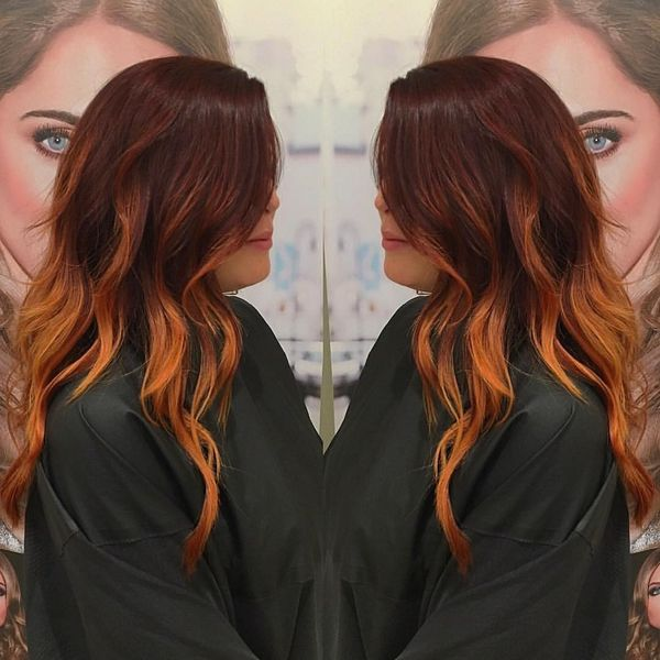 Flame ombre and auburn top