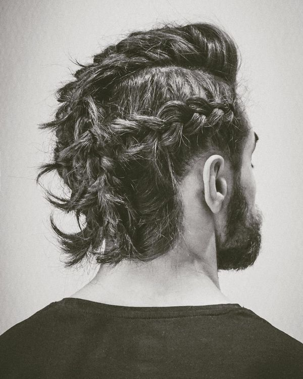 64 Braided Pompadour with Absolute Mess