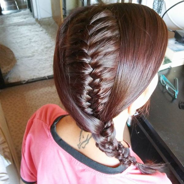 Exotic inside braid on one side