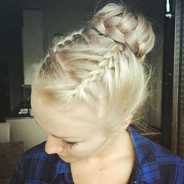 Braided Top Bun with a Zigzag Parting