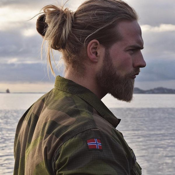 Full man bun with long hair 1