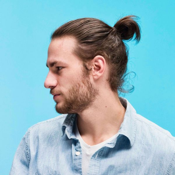 Full man bun with long hair 4